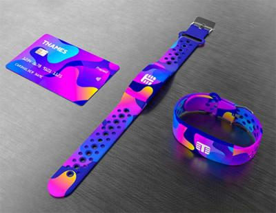 Colourful payment wristband and payment card